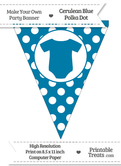 Cerulean Blue Polka Dot Pennant Flag with Baby Onesie from PrintableTreats.com