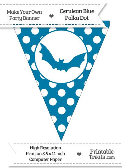Cerulean Blue Polka Dot Pennant Flag with Bat from PrintableTreats.com