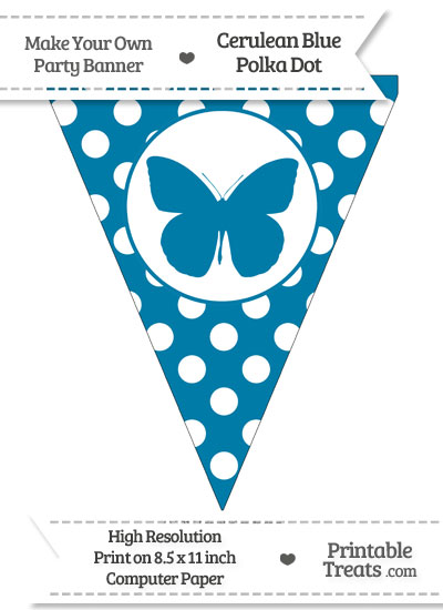 Cerulean Blue Polka Dot Pennant Flag with Butterfly from PrintableTreats.com