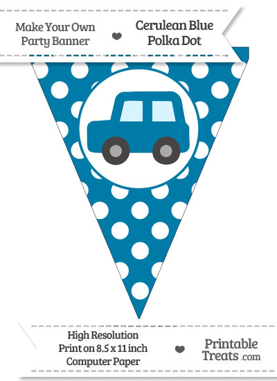 Cerulean Blue Polka Dot Pennant Flag with Car Facing Left from PrintableTreats.com