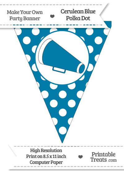 Cerulean Blue Polka Dot Pennant Flag with Cheer Megaphone-Facing Left from PrintableTreats.com