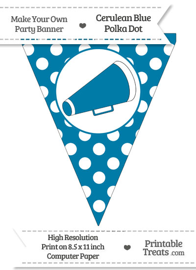 Cerulean Blue Polka Dot Pennant Flag with Cheer Megaphone-Facing Right from PrintableTreats.com