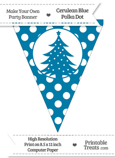 Cerulean Blue Polka Dot Pennant Flag with Christmas Tree from PrintableTreats.com
