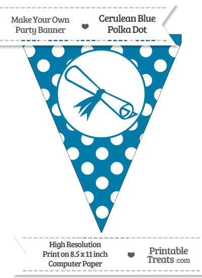 Cerulean Blue Polka Dot Pennant Flag with Diploma from PrintableTreats.com
