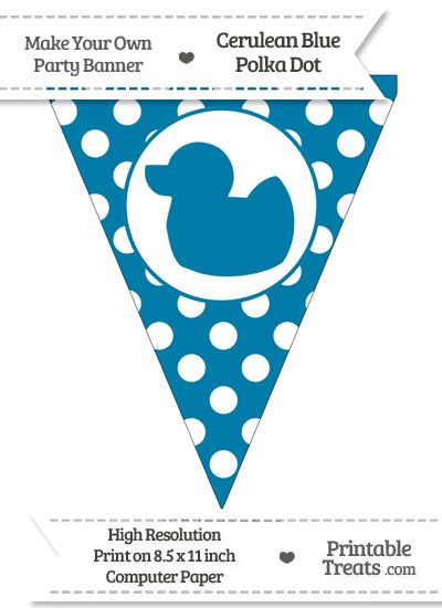 Cerulean Blue Polka Dot Pennant Flag with Duck Facing Left from PrintableTreats.com