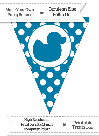 Cerulean Blue Polka Dot Pennant Flag with Duck Facing Right from PrintableTreats.com