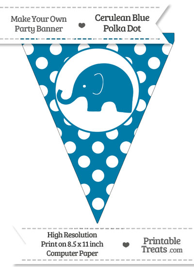 Cerulean Blue Polka Dot Pennant Flag with Elephant Facing Left from PrintableTreats.com