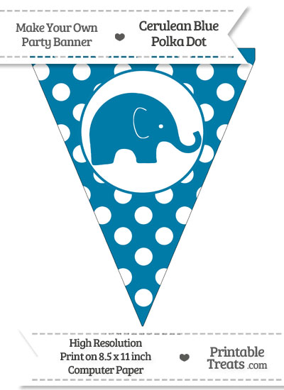 Cerulean Blue Polka Dot Pennant Flag with Elephant Facing Right from PrintableTreats.com