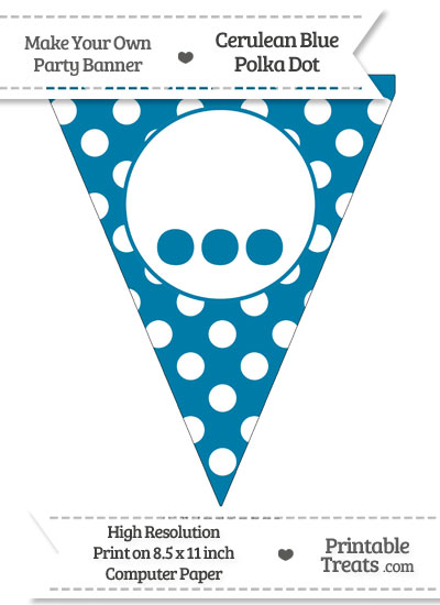 Cerulean Blue Polka Dot Pennant Flag with Ellipses from PrintableTreats.com