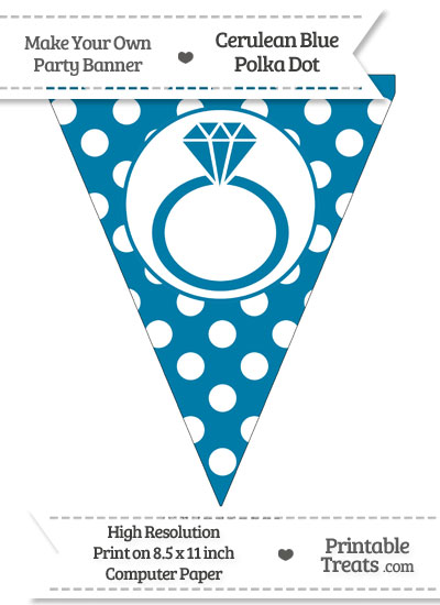 Cerulean Blue Polka Dot Pennant Flag with Engagement Ring from PrintableTreats.com