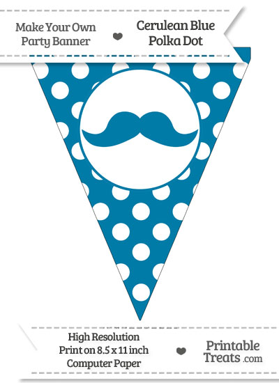 Cerulean Blue Polka Dot Pennant Flag with English Mustache from PrintableTreats.com