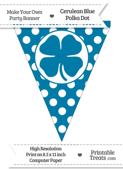 Cerulean Blue Polka Dot Pennant Flag with Four Leaf Clover Facing Left from PrintableTreats.com