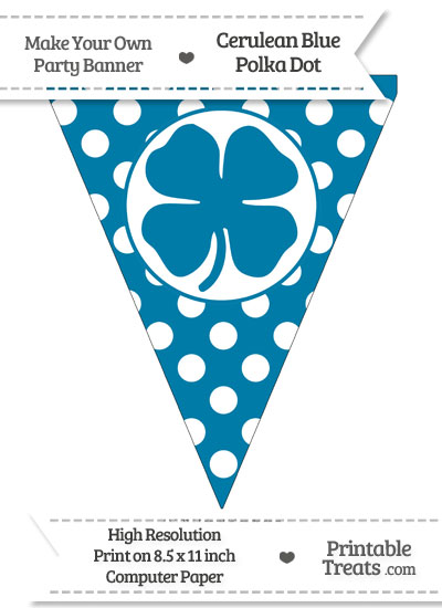 Cerulean Blue Polka Dot Pennant Flag with Four Leaf Clover Facing Right from PrintableTreats.com