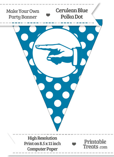 Cerulean Blue Polka Dot Pennant Flag with Hand Pointing Left from PrintableTreats.com