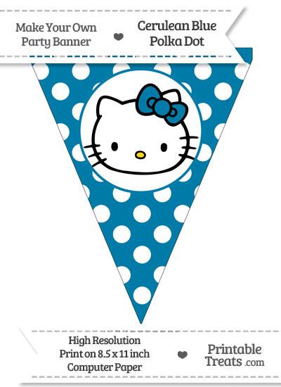 Cerulean Blue Polka Dot Pennant Flag with Hello Kitty from PrintableTreats.com