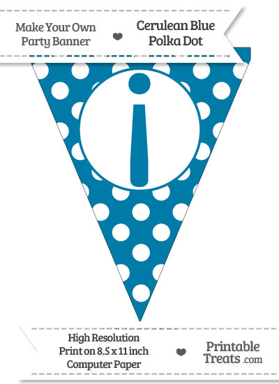 Cerulean Blue Polka Dot Pennant Flag with Inverted Exclamation Mark from PrintableTreats.com