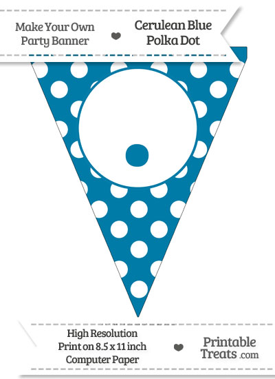 Cerulean Blue Polka Dot Pennant Flag with Period from PrintableTreats.com
