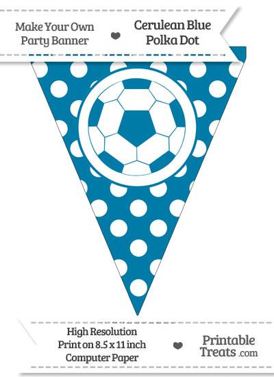 Cerulean Blue Polka Dot Pennant Flag with Soccer Ball from PrintableTreats.com