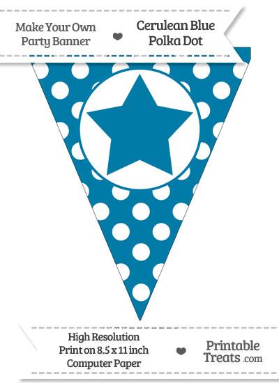 Cerulean Blue Polka Dot Pennant Flag with Star from PrintableTreats.com