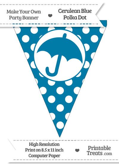Cerulean Blue Polka Dot Pennant Flag with Umbrella from PrintableTreats.com