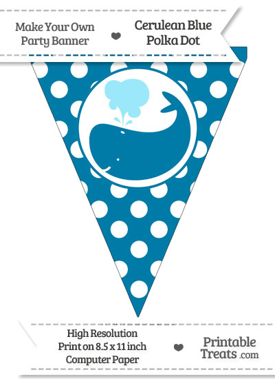 Cerulean Blue Polka Dot Pennant Flag with Whale Facing Left from PrintableTreats.com