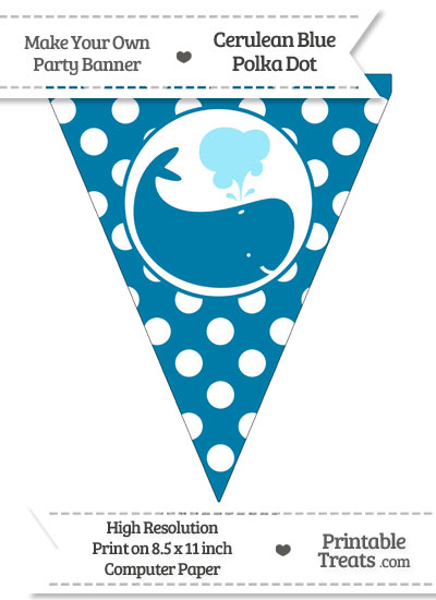 Cerulean Blue Polka Dot Pennant Flag with Whale Facing Right from PrintableTreats.com