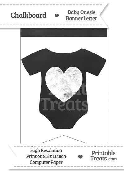 Chalkboard Baby Onesie Shaped Banner Heart End from PrintableTreats.com