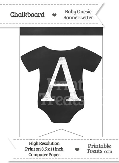 Chalkboard Baby Onesie Shaped Banner Letter A from PrintableTreats.com