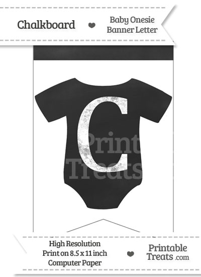 Chalkboard Baby Onesie Shaped Banner Letter C from PrintableTreats.com