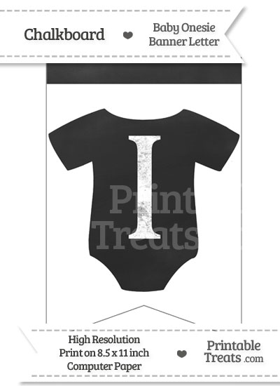 Chalkboard Baby Onesie Shaped Banner Letter I from PrintableTreats.com