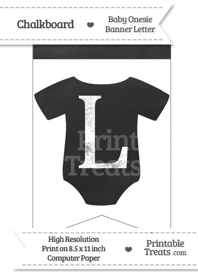 Chalkboard Baby Onesie Shaped Banner Letter L from PrintableTreats.com