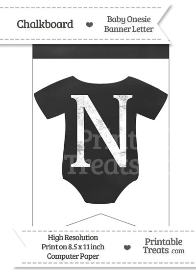 Chalkboard Baby Onesie Shaped Banner Letter N from PrintableTreats.com