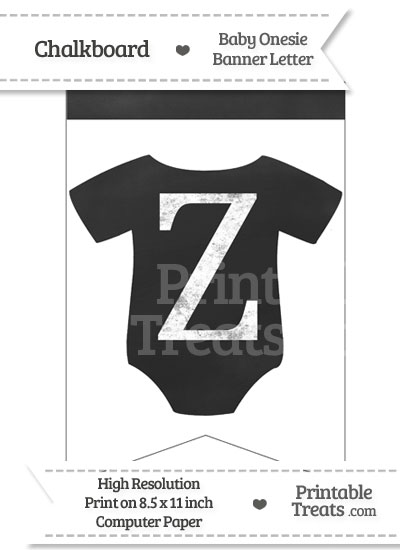 Chalkboard Baby Onesie Shaped Banner Letter Z from PrintableTreats.com