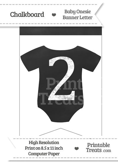 Chalkboard Baby Onesie Shaped Banner Number 2 from PrintableTreats.com