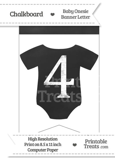 Chalkboard Baby Onesie Shaped Banner Number 4 from PrintableTreats.com