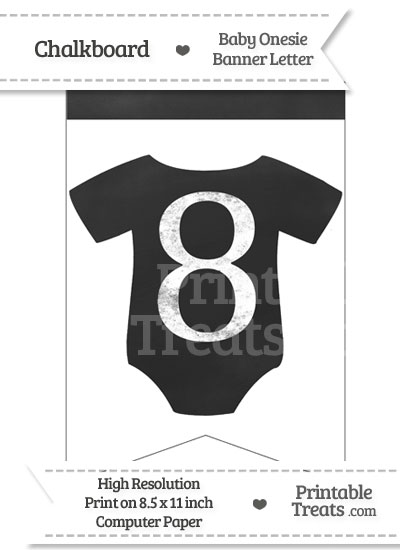 Chalkboard Baby Onesie Shaped Banner Number 8 from PrintableTreats.com