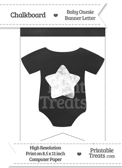 Chalkboard Baby Onesie Shaped Banner Star End from PrintableTreats.com