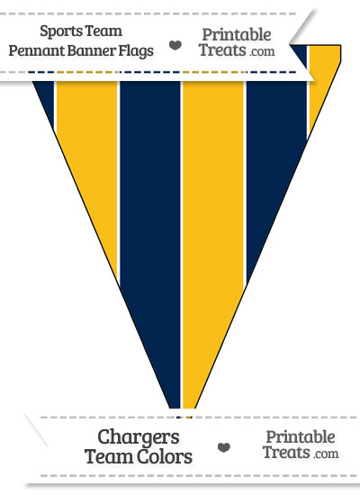 Chargers Colors Pennant Banner Flag from PrintableTreats.com
