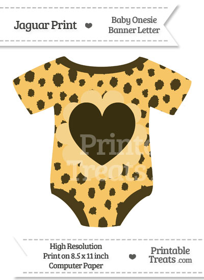 Cheetah Print Baby Onesie Shaped Banner Heart End Flag from PrintableTreats.com