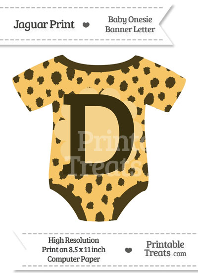 Cheetah Print Baby Onesie Shaped Banner Letter D from PrintableTreats.com
