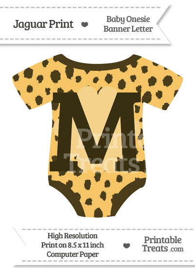 Cheetah Print Baby Onesie Shaped Banner Letter M from PrintableTreats.com