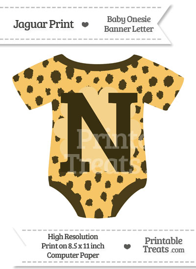 Cheetah Print Baby Onesie Shaped Banner Letter N from PrintableTreats.com