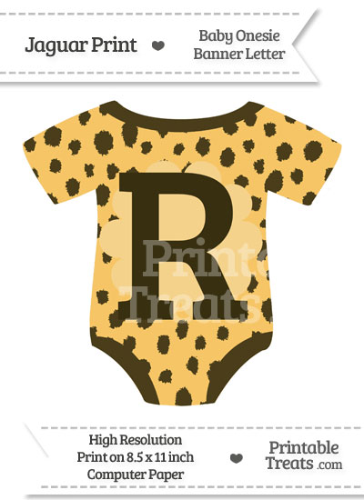 Cheetah Print Baby Onesie Shaped Banner Letter R from PrintableTreats.com
