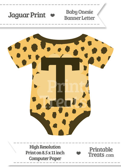 Cheetah Print Baby Onesie Shaped Banner Letter T from PrintableTreats.com