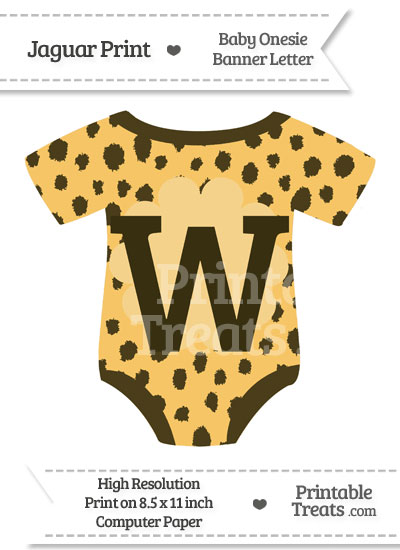 Cheetah Print Baby Onesie Shaped Banner Letter W from PrintableTreats.com