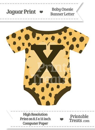 Cheetah Print Baby Onesie Shaped Banner Letter X from PrintableTreats.com