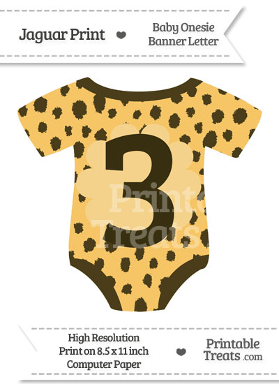 Cheetah Print Baby Onesie Shaped Banner Number 3 from PrintableTreats.com