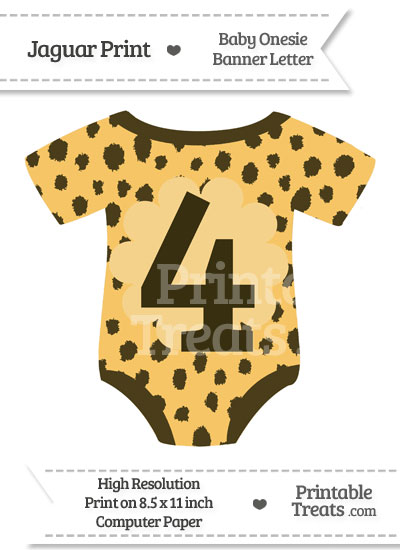 Cheetah Print Baby Onesie Shaped Banner Number 4 from PrintableTreats.com