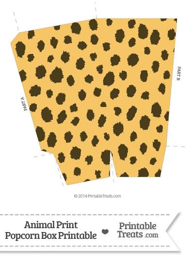 Cheetah Print Popcorn Box from PrintableTreats.com