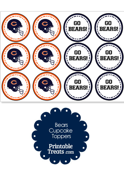 Chicago Bears Cupcake Toppers from PrintableTreats.com